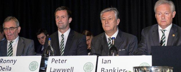 Director Brian Wilson, manager Ronny Deila, chief executive Peter Lawwell and chairman Ian Bankier at Celtic's annual meeting