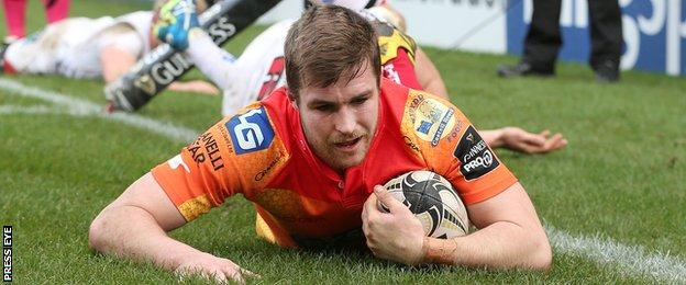 Scarlets full-back Michael Collins scored two tries in the first half