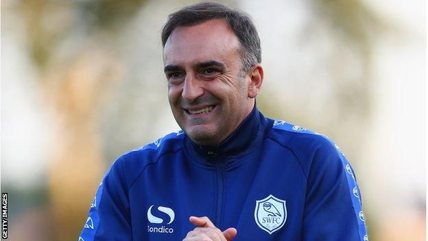 Carlos Carvalhal training Wednesday players during his spell at the club