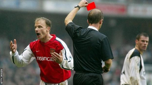 Dennis Bergkamp reacts to be sent off
