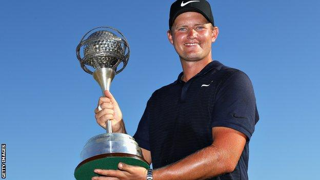 Tom Lewis winning the 2018 Portugal Masters