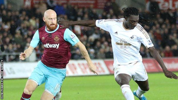 James Collins in action for West Ham against Swansea City