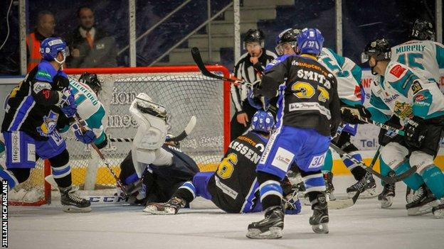 Belfast Giants go in search of a goal against Fife Flyers in Sunday's Challange Cup game