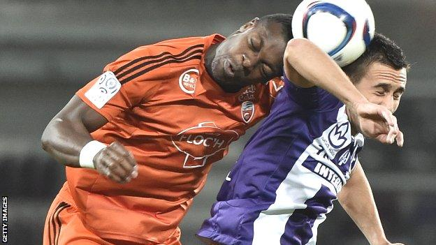 Lamine Kone wins a header for Lorient against Toulouse in a recent Ligue 1 match