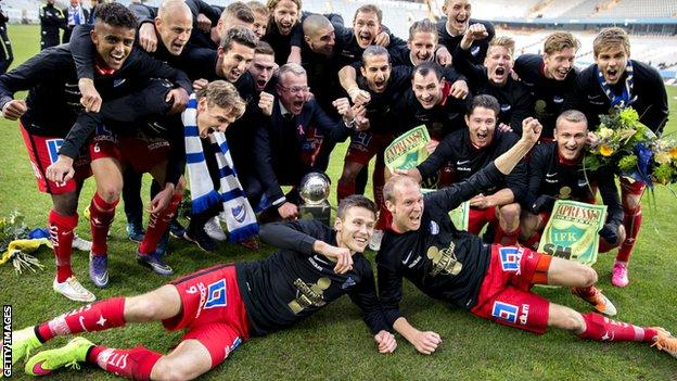 Norrkoping's players celebrate winning the Swedish League at Malmo