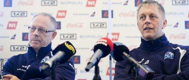 Heimir Hallgrimsson (right) and Lars Lagerback (left)