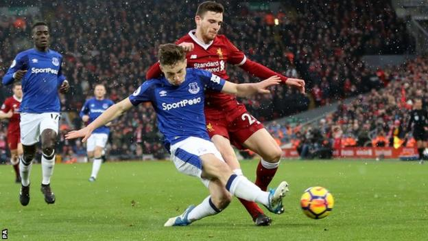 Everton's Jonjoe Kenny in action against Liverpool