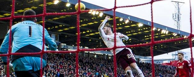 Hearts' Jordan McGhee rises to handle against Aberdeen