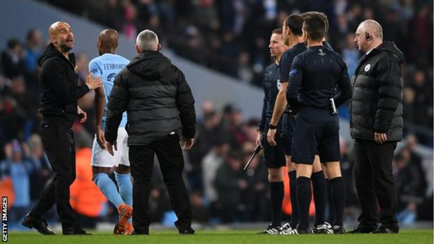 Manchester City manager Pep Guardiola is unhappy with the referee during Manchester City's Champions League game with Liverpool