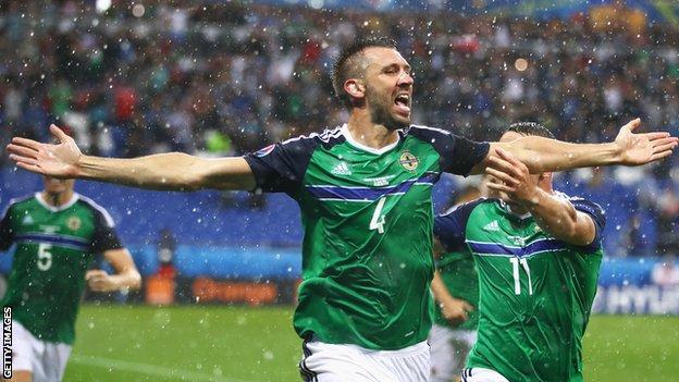 Gareth McAuley celebrates scoring for Northern Ireland at Euro 2016