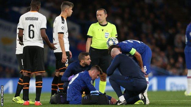 Mason Mount on the ground after being injured against Valencia