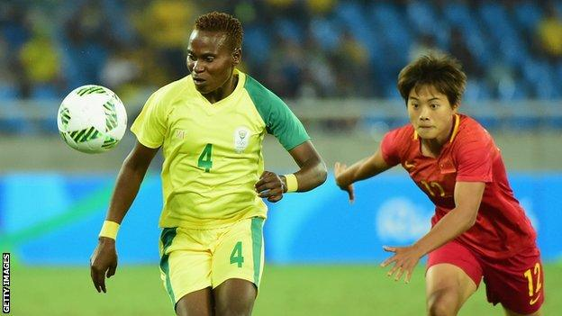 South Africa Women in action against China during the 2016 Olympics