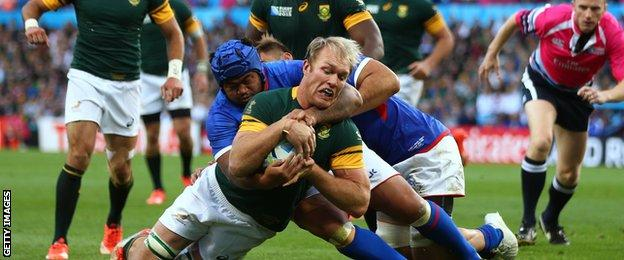 Schalk Burger scores for South Africa