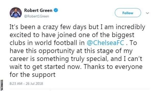 "Robert Green on Twitter: ""It's been a crazy few days but I am incredibly excited to have joined one of the biggest clubs in world football."""