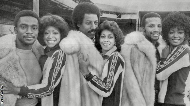 The Three Degrees - footballers Laurie Cunningham, Brendon Batson and Cyrille Regis - with the pop group