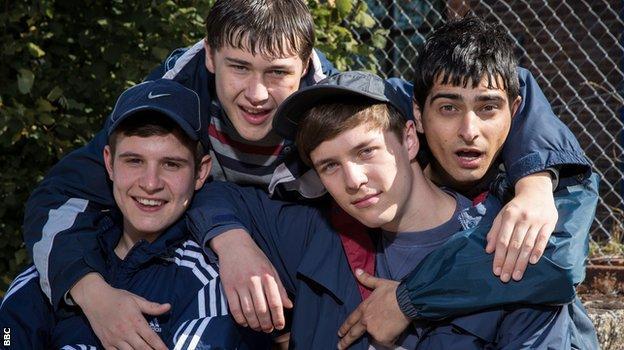 Ladhood cast members (l-r) Shaun Thomas, Samuel Bottomley, Oscar Kennedy and Aqib Khan