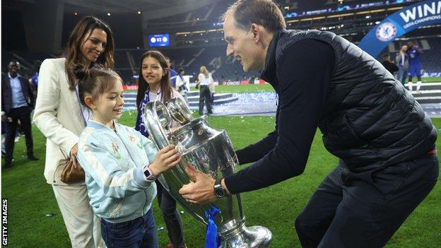 Chelsea boss Thomas Tuchel celebrates winning the Champions League with his family