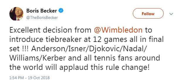 Former Wimbledon champion Boris Becker tweeted his support for the new rules