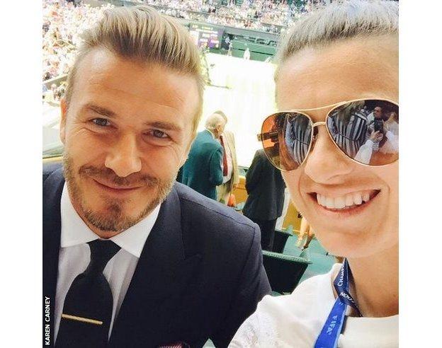 David Beckham and Karen Carney