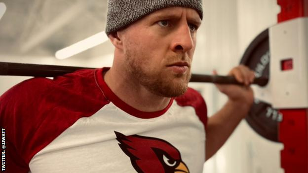 JJ Watt working out in Arizona Cardinals kit