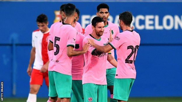 Lionel Messi celebrates his goal with Barcelona team-mates