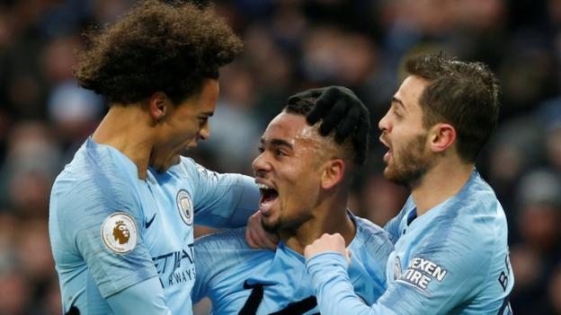 Manchester City 3-1 Everton: Gabriel Jesus & Raheem Sterling put hosts top of Premier League