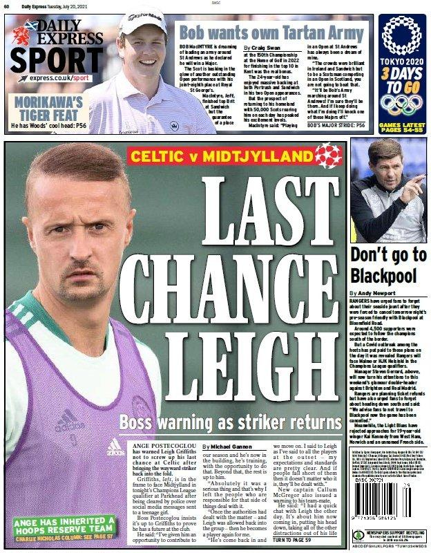 The back page of the Scottish Daily Express on 200721