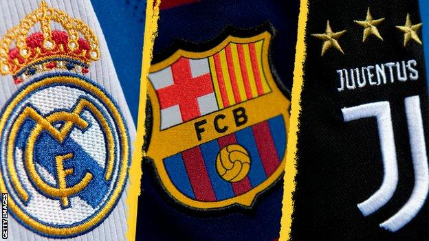 Real Madrid, Barcelona and Juventus club badges