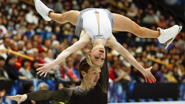 Evgenia Tarasova (up) and Vladimir Morozov of Russia perform their free skating program during the Pairs skating event of the 2019 ISU World Figure Skating Championships in Saitama, Japan, 21 March 2019. The Russian pair took the silver medal. EPA/KIMIMASA MAYAMA