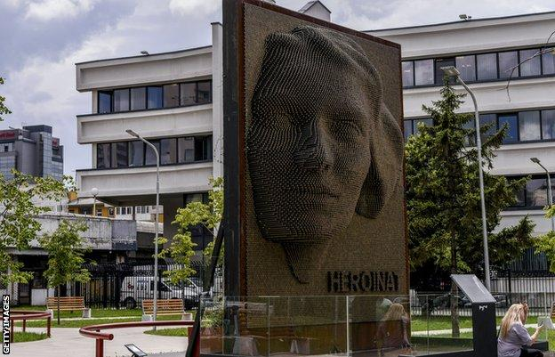 The 'Heroinat' ('Heroines') monument in Pristina honours the contribution and sacrifice of every ethnic Albanian woman during the 1998-1999 war in Kosovo