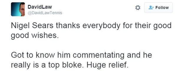 Nigel Sears tells the BBC he is 'feeling fine'