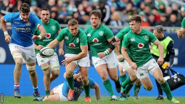 Jordan Larmour makes a break for Ireland