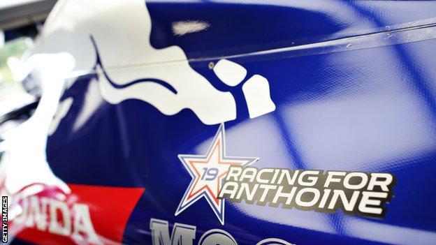 Toro Rosso tribute to Anthoine Hubert