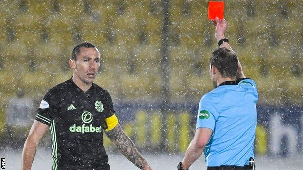 Celtic captain Scott Brown is ordered off five minutes after coming on as a late substitute