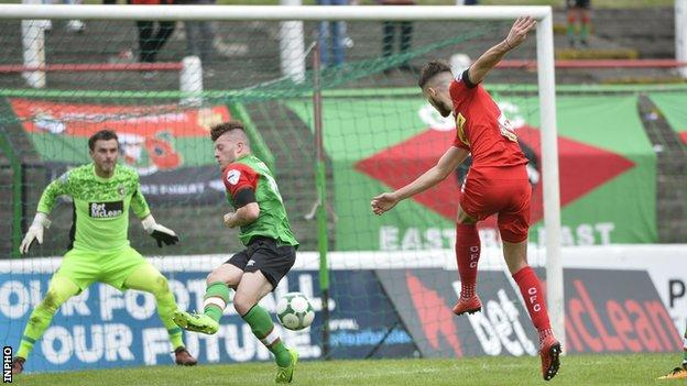 Jay Donnelly's goal clinched Cliftonville's 2-1 win over Glentoran in early August