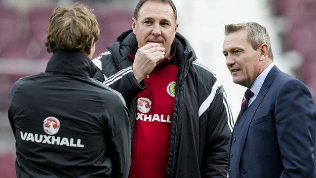 Malky Mackay (centre) has returned to management with Ross County