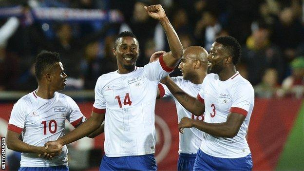 Cape Verde defender Gege (centre) celebrates after scoring against Portugal in a friendly in March