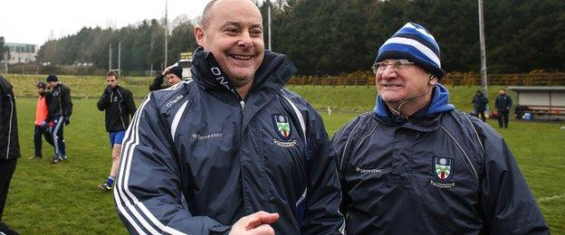 Monaghan boss Malachy O'Rourke shows his delight after the dramatic victory over Donegal