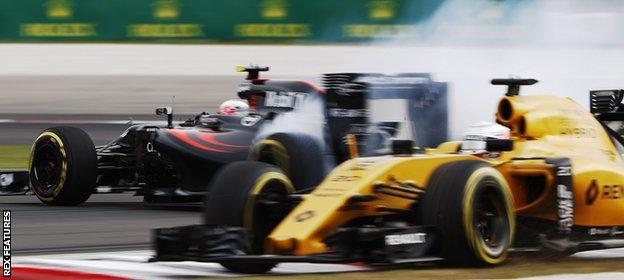 Jenson Button spins