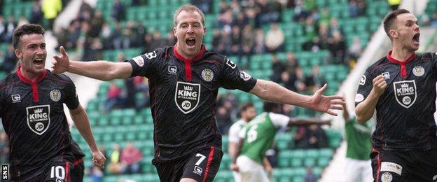 St Mirren celebrate David Clarkson's winner