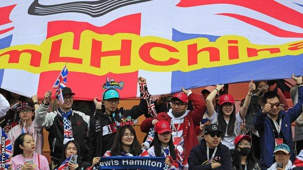 Fans at the 2019 Chinese Grand Prix in Shanghai, which was won by Lewis Hamilton