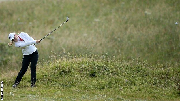Stephanie Meadow plays her second shot to the fifth at Turnberry on Thursday