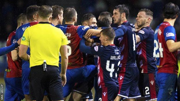 Tempers frayed in the Scottish Cup tie between Inverness CT and Ross County