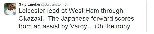 Gary Lineker's tweet about Leicester's first goal