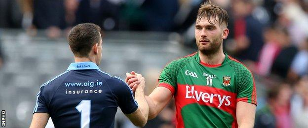 Dublin keeper Stephen Cluxton and Mayo's Aidan O'Shea shake hands after the game