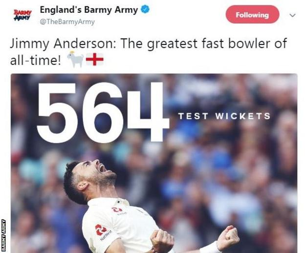 England cricket's supporters' group, the Barmy Army, paid tribute on Twitter