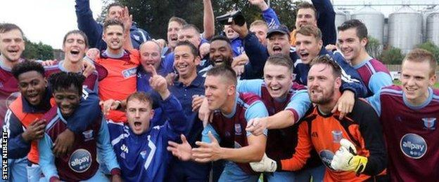 Westfields players celebrate their FA Cup fourth qualifying round win