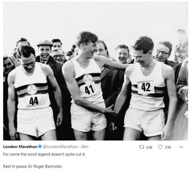 Roger Bannister (centre) with Chris Chataway (right) and Chris Brasher (1928 - 2003) after Bannister broke the mile world record
