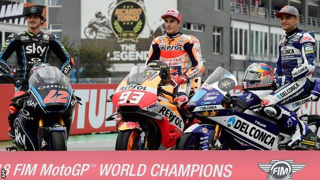 2018 MotoGP champion Marc Marquez pictured with the Moto2 winner Francesco Bagnaia and the Moto3 champion Jorge Martin