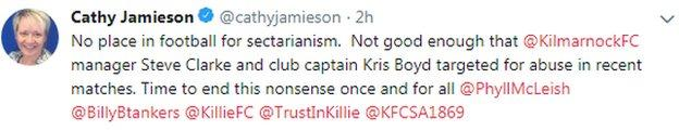 Tweet from Kilmarnock director Cathy Jamieson